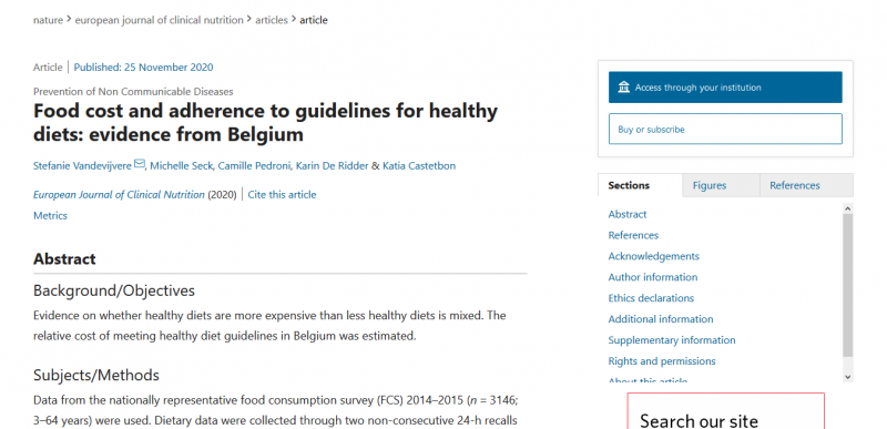 Food cost and adherence to guidelines for healthy diets: evidence from Belgium