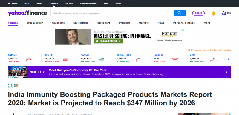 India Immunity Boosting Packaged Products Markets Report 2020: Market is Projected to Reach $347 Million by 2026