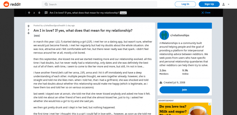 r/relationships Am I in love? If yes, what does that mean for my relationship?
