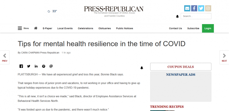 Tips for mental health resilience in the time of COVID