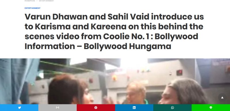 Varun Dhawan and Sahil Vaid introduce us to Karisma and Kareena on this behind the scenes video from Coolie No. 1