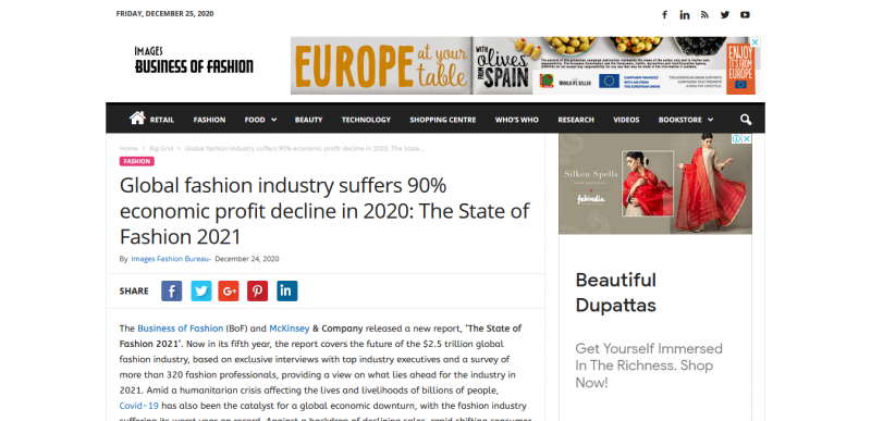 Global fashion industry suffers 90% economic profit decline in 2020 The State of Fashion 2021