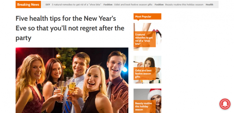 Five health tips for the New Year's Eve so that you'll not regret after the party