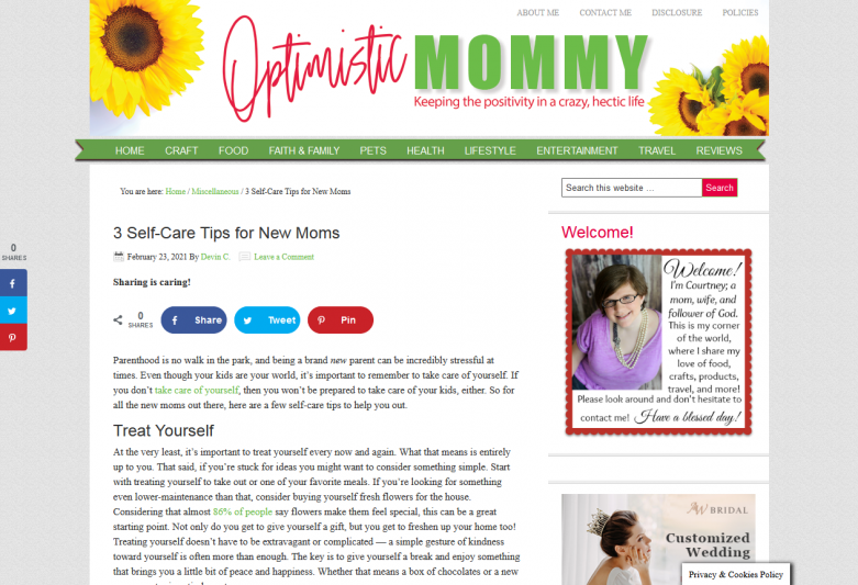3 Self-Care Tips for New Moms