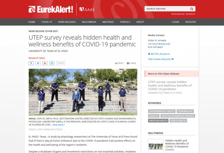 UTEP survey reveals hidden health and wellness benefits of COVID-19 pandemic
