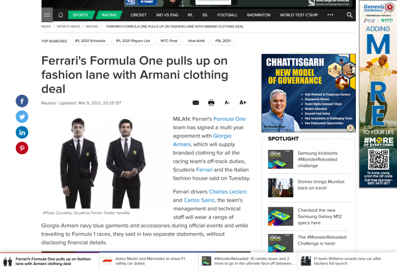 Ferrari's Formula One pulls up on fashion lane with Armani clothing deal