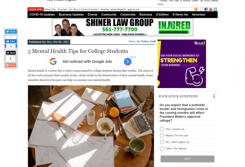 5 Mental Health Tips for College Students