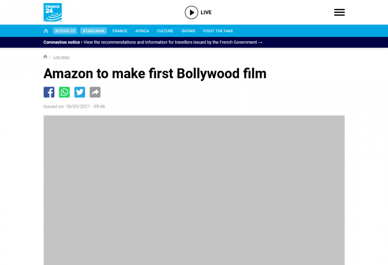 Amazon to make first Bollywood film