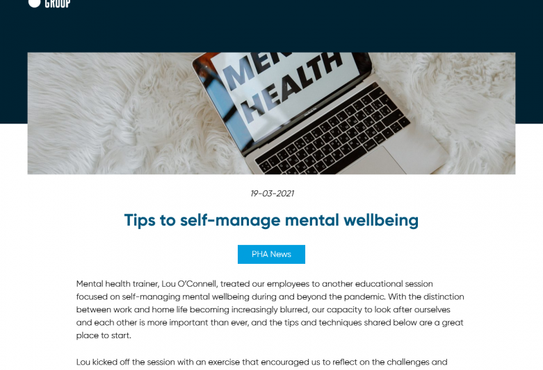 Tips to self-manage mental wellbeing