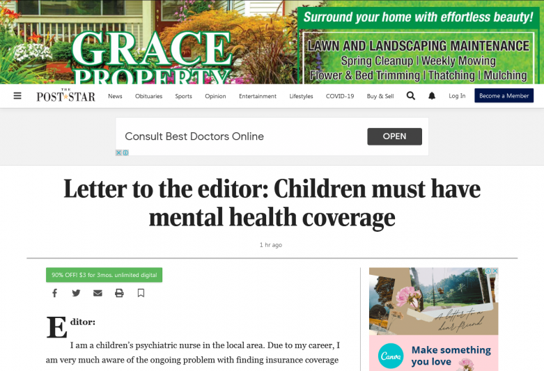 Letter to the editor: Children must have mental health coverage