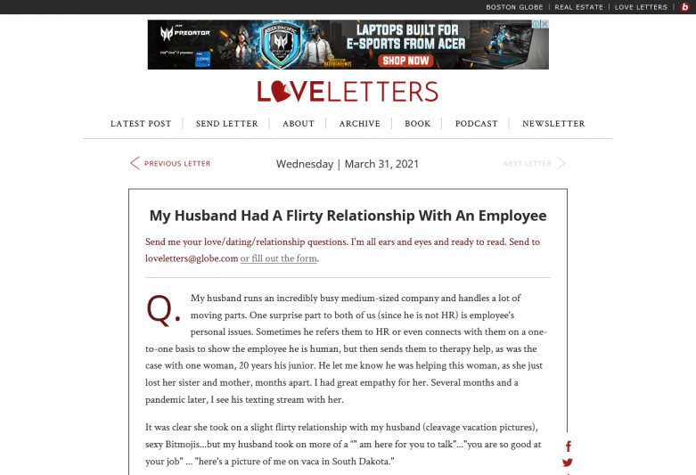 My husband had a flirty relationship with an employee