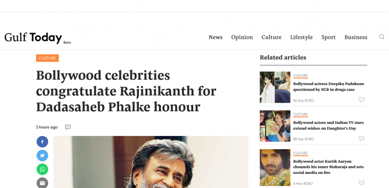 Bollywood celebrities congratulate Rajinikanth for Dadasaheb Phalke honour