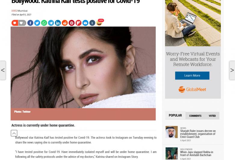 Bollywood: Katrina Kaif tests positive for Covid-19