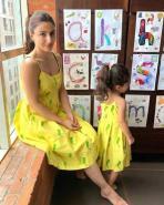 Soha Ali Khan and Inaaya Naumi twin in yellow summery dresses