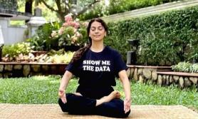 Bollywood actress Juhi Chawla wears T-shirt with slogan 'show me the data'