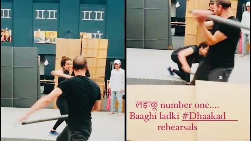 Bollywood Actress Kangana Ranaut shares glimpse of fight practice for 'Dhaakad'